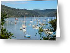 Yachts In A Quiet Estuary Greeting Card