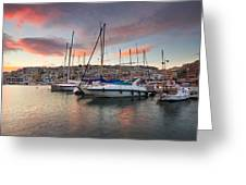 yachts in Mikrolimano marina  Greeting Card