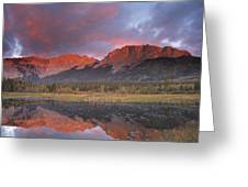 Yamnuska And Reflection  Greeting Card