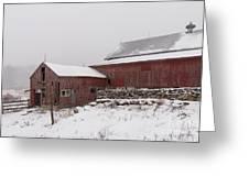 Yankee Farmlands No 19 - Winter Snow And New England Barn Greeting Card