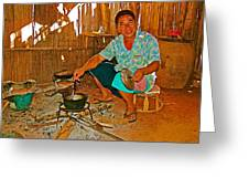 Yao Mien Tribe Man In His Home With His Cooking Pot North Of Chiang Rai In Mae Salong-thailand  Greeting Card