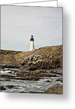 Yaquina Head Lighthouse From The Beach Greeting Card