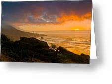 Yaquina Head Lighthouse Sunset. Greeting Card