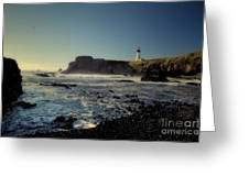 Yaquina Lighthouse And Beach No 2 Greeting Card