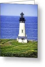 Yaquina Lighthouse From The Big Hill Greeting Card