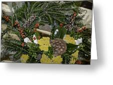 Yarrow And Lotus Wreath Squared Greeting Card