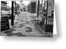 Ybor City Sidewalk - Black And White Greeting Card