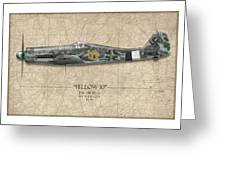 Yellow 10 Focke-wulf Fw190d - Map Background Greeting Card by Craig Tinder