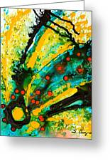 Yellow Abstract Greeting Card by Sharon Cummings