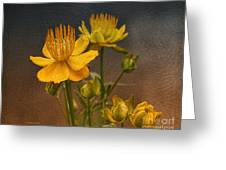 Yellow Aged Floral Greeting Card