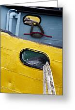 Yellow And Blue Boat Greeting Card