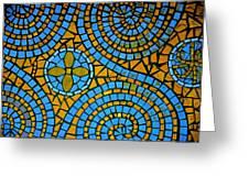 Yellow And Blue Mosaic Greeting Card