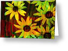 Yellow And Green Daisy Design Greeting Card