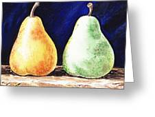 Yellow And Green Pear Greeting Card