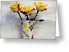 Yellow And Red Tipped Roses Greeting Card by Marsha Heiken