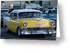 Yellow And White Classic Chevy Greeting Card