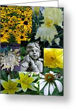 Yellow And White Flower Collage Greeting Card