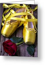 Yellow Ballet Shoes Greeting Card by Garry Gay