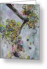 Yellow Blossoms Painting Flowr Butterflies Art Abstract Modern Spring Color Flower Art Greeting Card