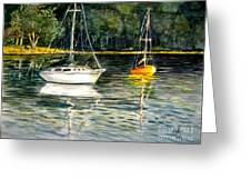 Yellow Boat Sister Bay Greeting Card