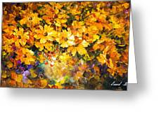 Yellow Bouquet - Palette Knife Oil Painting On Canvas By Leonid Afremov Greeting Card