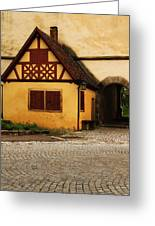 Yellow Building And Wall In Rothenburg Germany Greeting Card