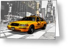 Yellow Cab At The Times Square -comic Greeting Card