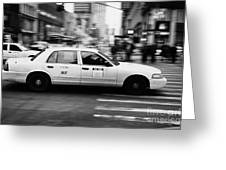 Yellow Cab Blurring Past Crosswalk And Pedestrians New York City Usa Greeting Card