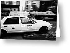 Yellow Cab With Advertising Hoarding Blurring Past Crosswalk And Pedestrians New York City Usa Greeting Card