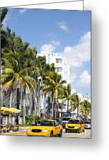 Yellow Cabs On Ocean Drive Greeting Card