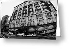 yellow cabs wait outside Macys at Broadway and 34th Street Herald Square new york Greeting Card
