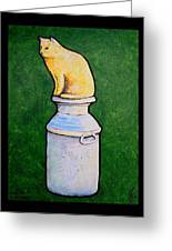 Yellow Cat On Milk Can Greeting Card