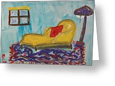Yellow Chaise-red Pillow Greeting Card