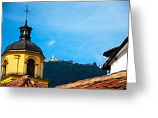 Yellow Church And Monserrate Greeting Card