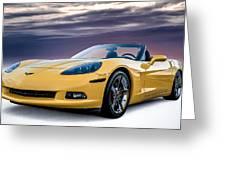 Yellow Corvette Convertible Greeting Card