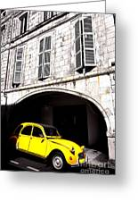 Yellow Deux Chevaux In Shadow Greeting Card