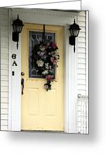 Yellow Door At The Shore Greeting Card