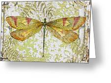 Yellow Dragonfly On Vintage Tin Greeting Card