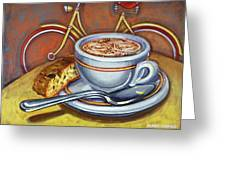 Yellow Dutch Bicycle With Cappuccino And Biscotti Greeting Card