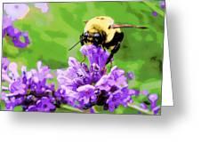 Yellow Enjoying Lavender Greeting Card