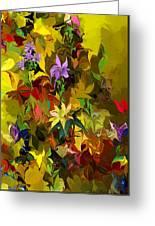 Yellow Fantasy Flower Garden Greeting Card