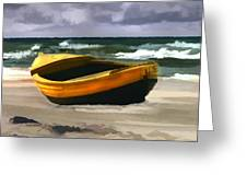 Yellow Fishing Dory Before The Storm Greeting Card