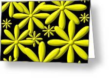 Yellow Flower Power 3d Digital Art Greeting Card
