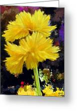 Yellow Flower With Splatter Background Greeting Card