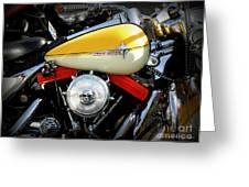 Yellow Harley Greeting Card by Lainie Wrightson