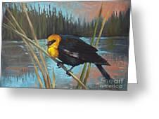 Yellow Headed Black Bird Greeting Card