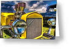 Yellow Hotrod Greeting Card