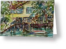 Yellow House By The River Greeting Card