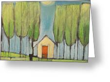 Yellow House In Woods Greeting Card