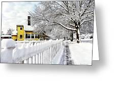 Yellow House With Snow Covered Picket Fence Greeting Card